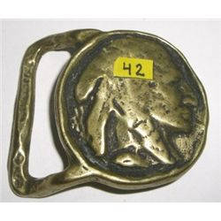 INDIAN HEAD BELT BUCKLE VERY OLD VINTAGE BUCKLE *STAMPED SOLID BRASS - EXCELLENT CONDITION*!!