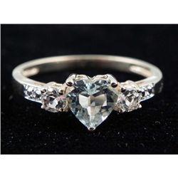 10K YELLOW GOLD HEART TOPAZ DIAMOND RING .90 CTW