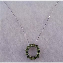 PLAT AND STERLING 3.3CTW PERIDOT PENDANT NECKLACE