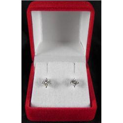 .66 Carat Princess Cut 14K White Gold Diamond Earrings