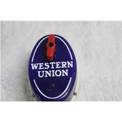 "HARD TO FIND WESTERN UNION CALL BOX ALL PERCELAIN - 6"" X 4"""