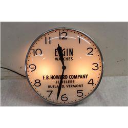 ELGIN ADVERTISING CLOCK - LIGHTS UP - WORKS FINE