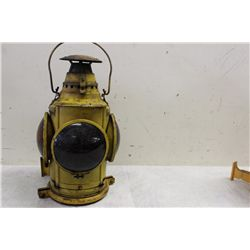 CHOICE OF 3 R.R. LANTERNS - (2 ADLAKE LAMP CO.) - (1 DRESSEL BLACK LAMP - 1 BROKEN LENS)