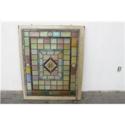 """BEAUTIFUL LEADED GLASS WINDOW - 43"""" X 35"""" (GLASS - 38"""" X 30"""")"""
