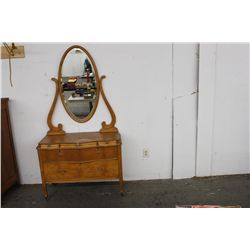 LOVELY BIRDSEYE PRINCESS DRESSER W/ 3 SMALL BENTWOOD BEVELED MIRROR DRAWERS