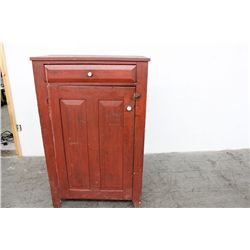 "EARLY JELLY CUPBOARD W/ 1 DRAWER & 1 DOOR - ORIG. RED PAINT - PORCELAIN KNOBS - 53"" X 33"""