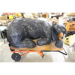 "CARVED ART BEAR LAYING ON LOG - APPROX. 150 LBS. - 24"" HIGH - 43"" LONG - 25"" WIDE - WILL NOT SHIP -"