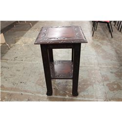 """HEAVILY CARVED MAHOGANY STAND - 30"""" TALL - TOP 18"""" SQUARE"""