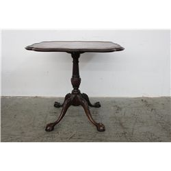 "GREAT SHAPED TOP MAHOGANY PEDESTAL STAND W/ CLAW & BALL FEET - 30"" X 31"""