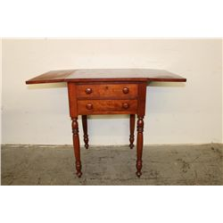 1860'S GREAT 2 DRAWER CHERRY DROP LEAF STAND W/ TURNED LEGS