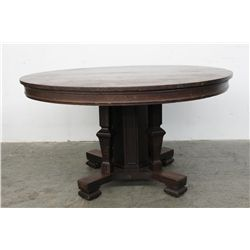 """ORIGINAL FINISH 54"""" SOLID OAK ROUND TABLE W/ 2 LEAVES- UNUSUAL BASE W/ MISSION FLARE"""