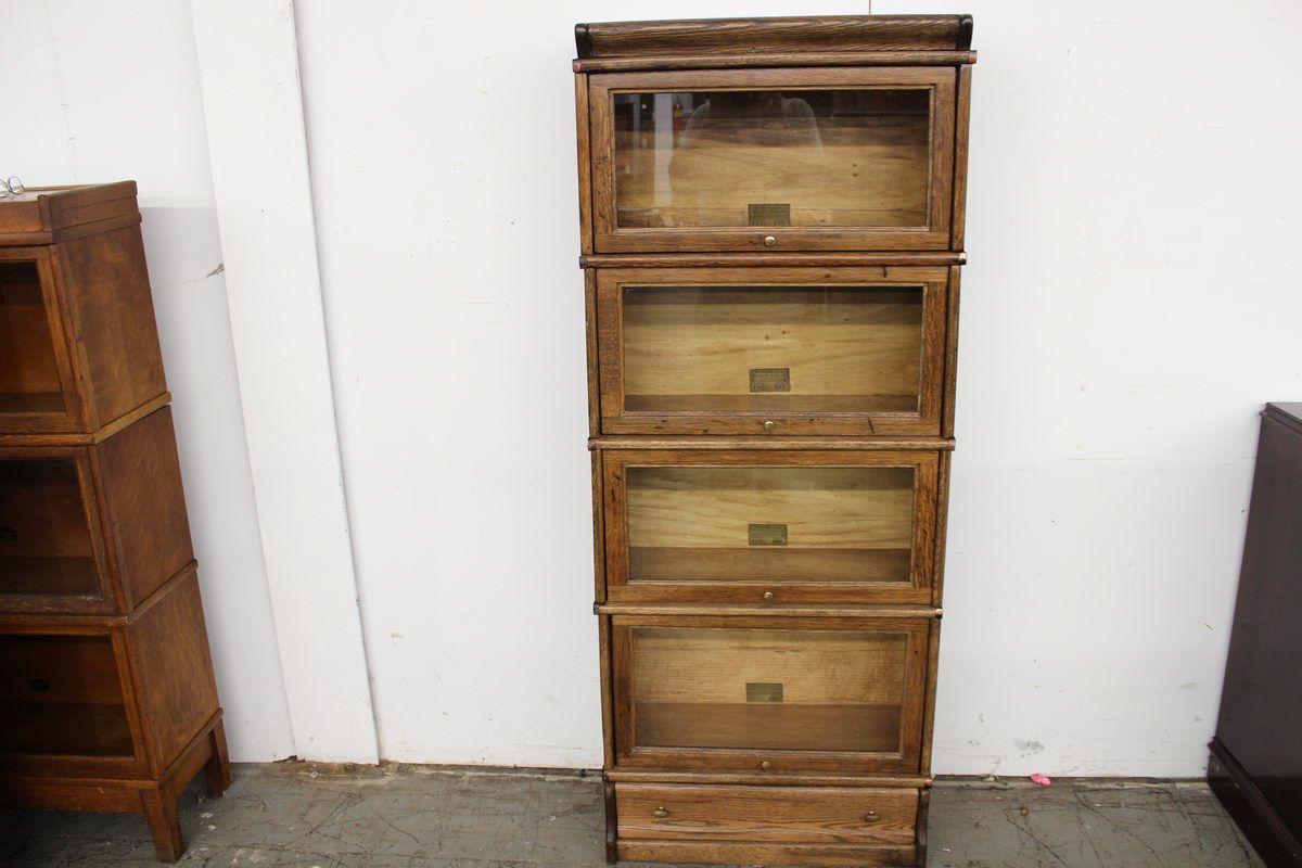 4 Stack 3 4 Size Globe Wernicke Bookcase W Drawer Bottom