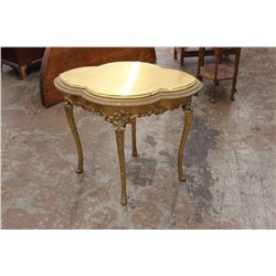 CLOVER FRENCH STYLE GOLD GUILDED TABLE W/ GLASS TOP
