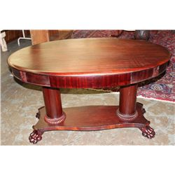 "OVAL MAHOGANY 1 DRAWER LIBRARY TABLE W/ TURNED BASE & CLAW FEET- 52"" X 33"" X 30"""