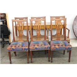 SET OF 6 OAK FANBACK DINING CHAIRS - EXC. CONDITION