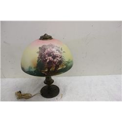 BRONZE BASE W/ HAND PAINTED SHADE - MINOR HAIRLINE ON OUTSIDE OF SHADE ONLY - NEEDS NEW CORD
