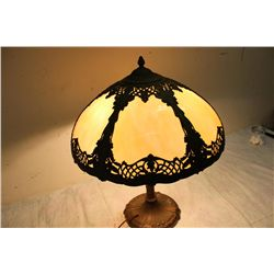 BEAUTIFUL 6 PANEL ORNATE FILIGREE SHADE W/ LOVELY METAL BASE - SIGNED ON BOTTOM - SEE PICTURE