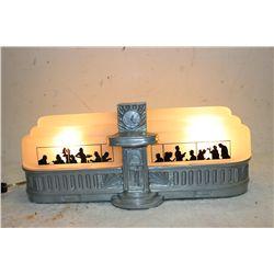 "WONDERFUL VERY RARE DECO SLIP SHADE TABLE LAMP IN SHAPE OF RAIL CAR DINER - MINT - 15"" LONG X 5"" WID"
