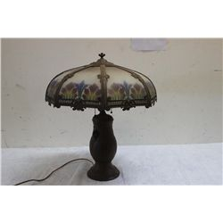 ALL ORIG. GREAT REVERSE PAINTED 8 PANEL SLAG GLASS LAMP W/ RIBBED GLASS AND ORNATE METAL BASE
