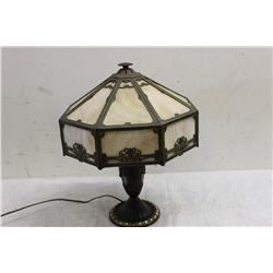 8 PANEL SLAG GLASS LAMP W/ GROOVED PANELS
