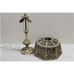 ONE OF THE BEST FILIGREE LAMP EVER W/ SILK LINED SHADE - NEEDS NEW SILK - HIGHLY DECORATED & BEAUTIF