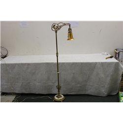 ALABASTOR & IRON FLOOR LAMP W/ ART GLASS SHADE