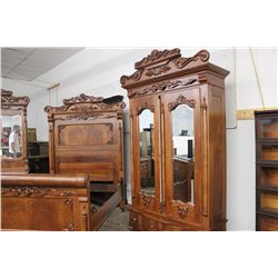 OUTSTANDING 4 PIECE WALNUT BEDROOM SET ROSE MARBLE TOP - EARLY VICTORIAN - THE BEST SET I'VE EVER SO