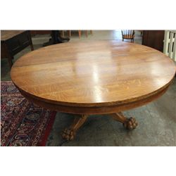 """TERRIFIC ROUND OAK TABLE - MASSIVE 66"""" BASE - SOLID W/ GREAT LION AND FLUTED BASE"""
