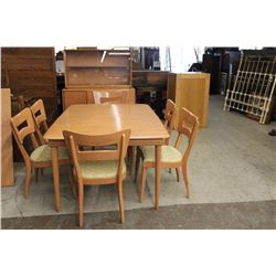 HEYWOOD WAKEFIELD 8 PIECE DINING SET - CHINA SIDEBOARD W/ UNUSUAL TAMBOUR DOOR - CHAMPAGNE FINISH