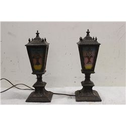 BEAUTIFUL ORNATE PAIR HEAVY MANTLE LAMPS - METAL BASE & FRAME W/ REVERSE PAINTED SHADES