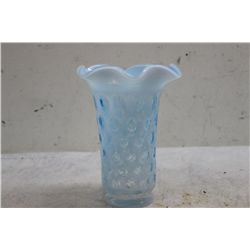 "FENTON VASE IN FLOWING BLUE & WHITE W/ ORIG. TAG - MINT - 8"" X 6"""