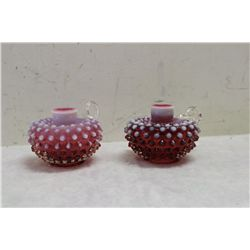 2 CRANBERRY HOBNAIL OPALESCENT CANDLE HOLDERS - 3.5 HIGH X 4.5 WIDE