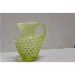 "HOBNAIL OPALESCENT PITCHER IN GREENISH YELLOW - UNSIGNED FENTON - 5.5"" X 4"""