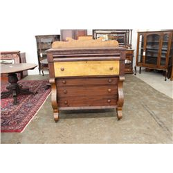 EARLY EMPIRE CHEST W/ GRADUATING DRAWERS  - TIGER MAPLE & MAHOGANY