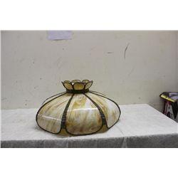 8 PANEL SLAG GLASS CHANDELIER - SET IN ORNATE METAL