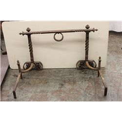 EARLY IRON FIREPLACE ANDIRONS - COMPLETE W/ SPIT