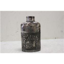"ORNATE SILVER PLATED FLASK W/ CUP TOP DATED 1850 - 6.25"" TALL"