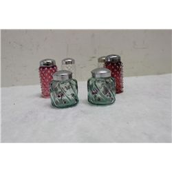3 SETS OF SALT & PEPPERS (BLE-GREEN PAIR IS ARTIST SIGNED) - MINT - 1 MONEY