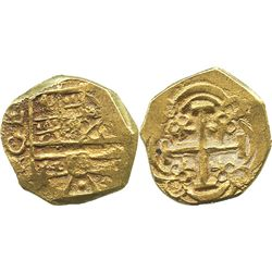 Bogota, Colombia, cob 2 escudos, Charles II posthumous, assayer ARCE to left of shield, from the 171