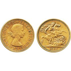 Great Britain, sovereign, Elizabeth II, 1957.