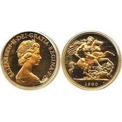 Great Britain, Proof sovereign, Elizabeth II, 1980.