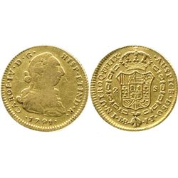 Lima, Peru, bust 2 escudos, Charles IV transitional (bust of Charles III, ordinal IV), 1791IJ.