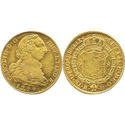 Madrid, Spain, bust 4 escudos, Charles III, 1779PJ.