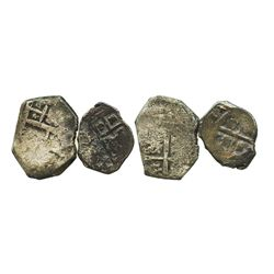 Lot of 2 Spanish cobs of Philip III or IV (one 4R and one 2R).