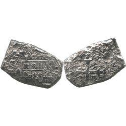 Mexico City, Mexico, klippe 8 reales, Philip V, 1733F.