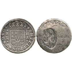 "Madrid, Spain, milled 2 reales ""pistareen,"" Philip V, 1724A."