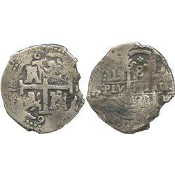 Lima, Peru, cob 8 reales, 1691R.