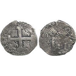 Lima, Peru, cob 8 reales, Philip V, assayer M, date unclear (1720s).