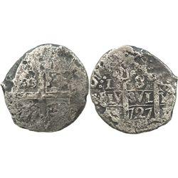 Lima, Peru, cob 8 reales, 1727(M).