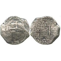 Potosi, Bolivia, cob 8 reales, 1703?(Y?).
